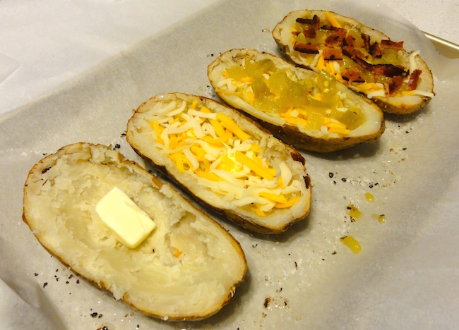 bacon green chile baked potato skins
