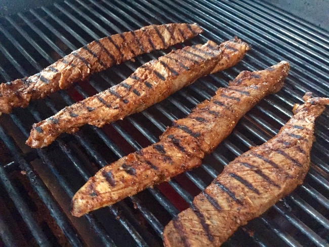 grilling pork tenderloin strips for easy tacos al pastor