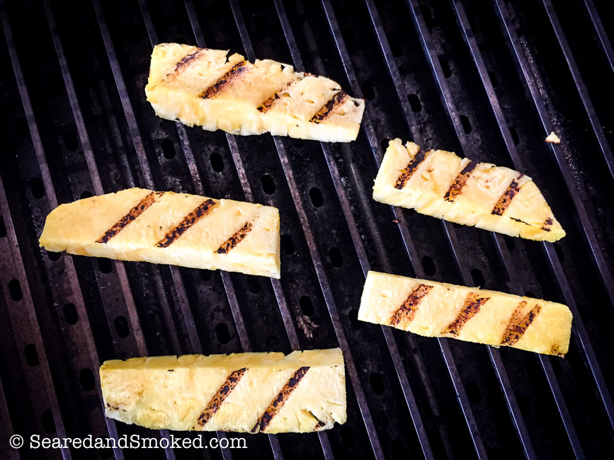 grille pineapple for smoked pork belly sliders