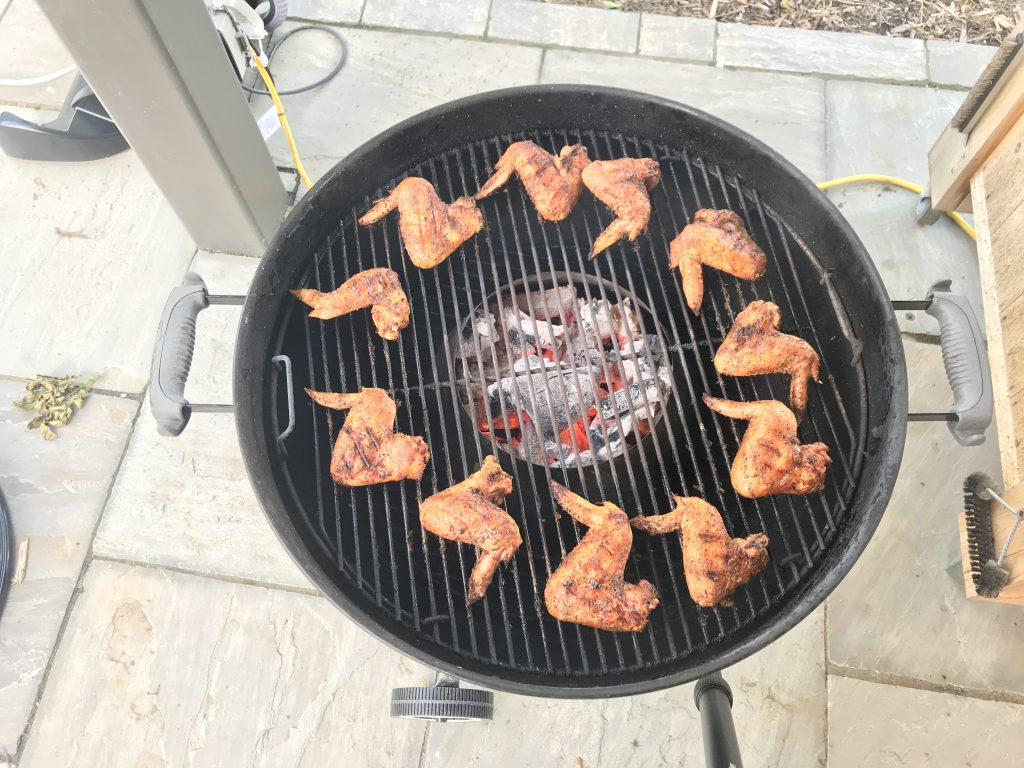 "grilling crispy hot honey wings on a 22"" weber kettle grill"
