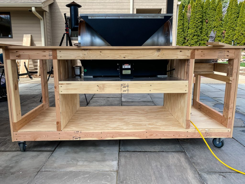 Backside view of the grill table main frame